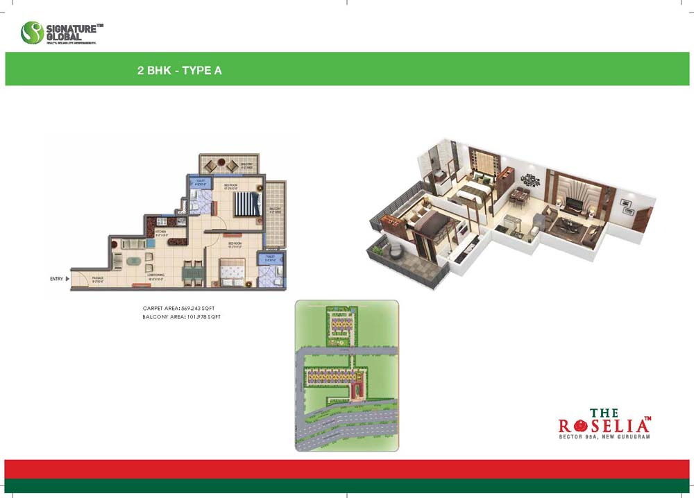 Signature Global Affordable The Roselia Sector 95A floor plan 2bhk
